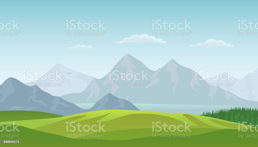 夏の風景の背景。ベクトル ベクターアートイラスト