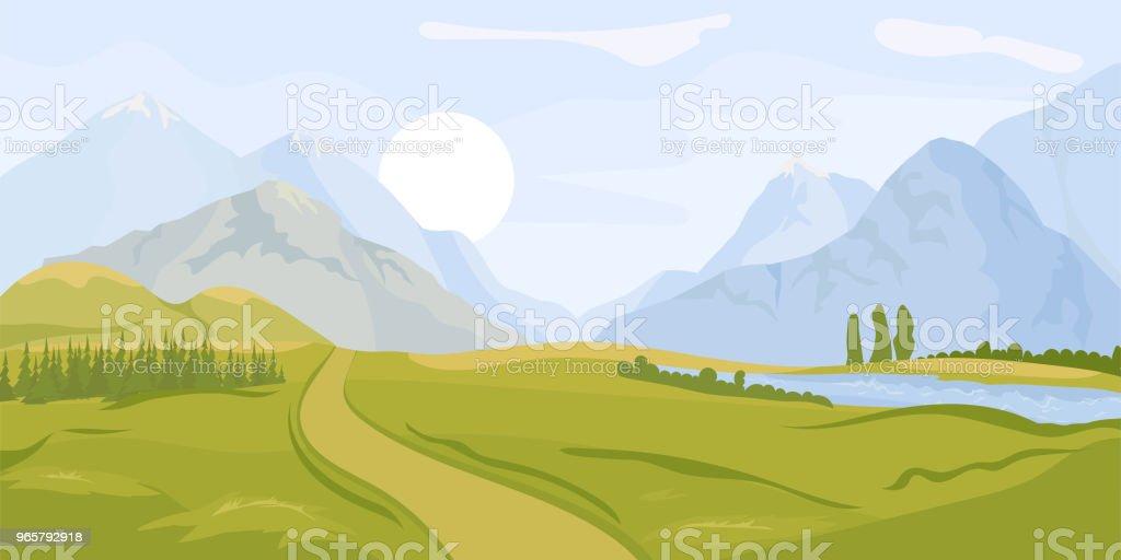 Zomer landschap achtergrond. Vector - Royalty-free Achtergrond - Thema vectorkunst