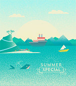 summer landscape illustration with whale and ships on sea
