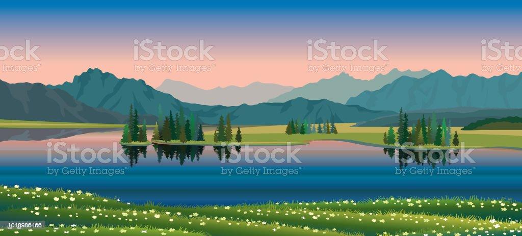 Sommarlandskap - sjön, skogen, bergen, blommor - Royaltyfri Berg vektorgrafik
