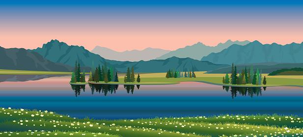 Sommarlandskap Sjön Skogen Bergen Blommor-vektorgrafik och fler bilder på Berg