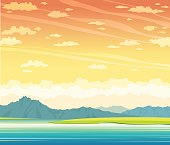 Summer landscape - lake, mountains, sunset sky.
