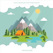 summer  landscape. Morning landscape in the mountains. Solitude in nature by the river. Weekend in the tent. Hiking and camping. Vector flat illustration