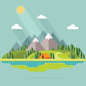 summer  landscape. Morning landscape in the mountains. Vector flat illustration