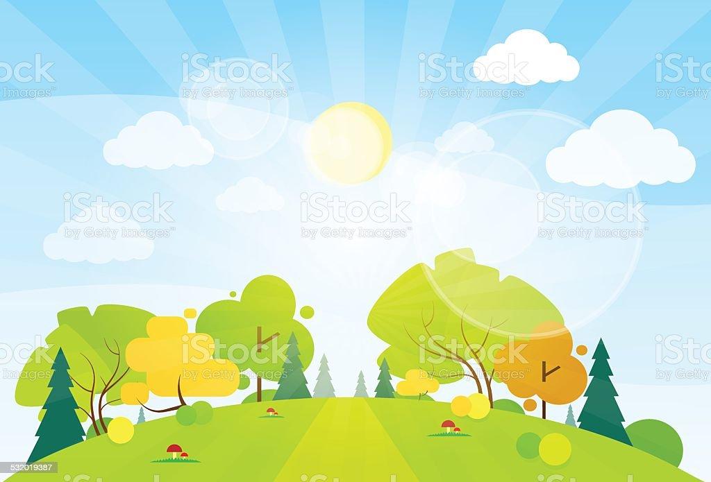 summer landscape mountain forest road blue cloud sky vector art illustration
