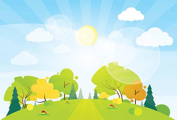 Paysage de montagne d'été route bleu ciel de nuages - Illustration vectorielle