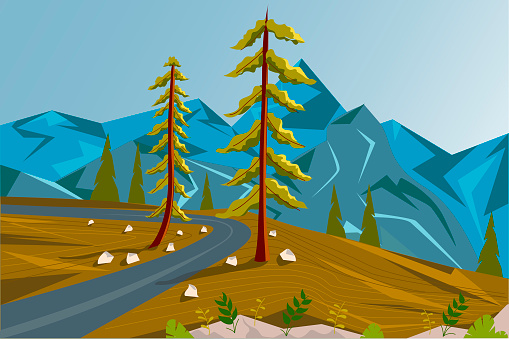 Summer landscape. Mountain road, two trees and a mountain view from above. Vector illustration