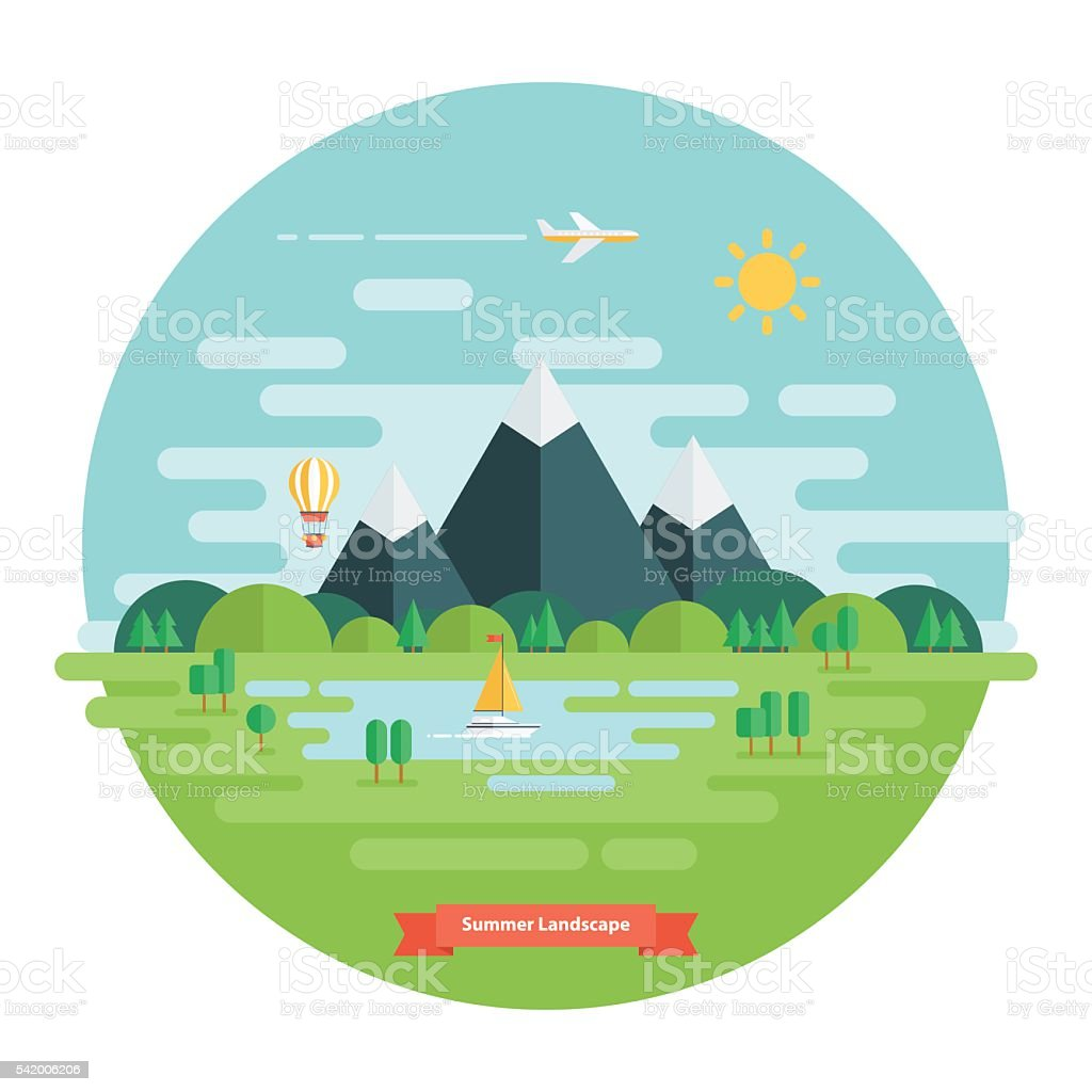 Summer landscape. Nature landscape with sun, mountains and clouds. vector art illustration