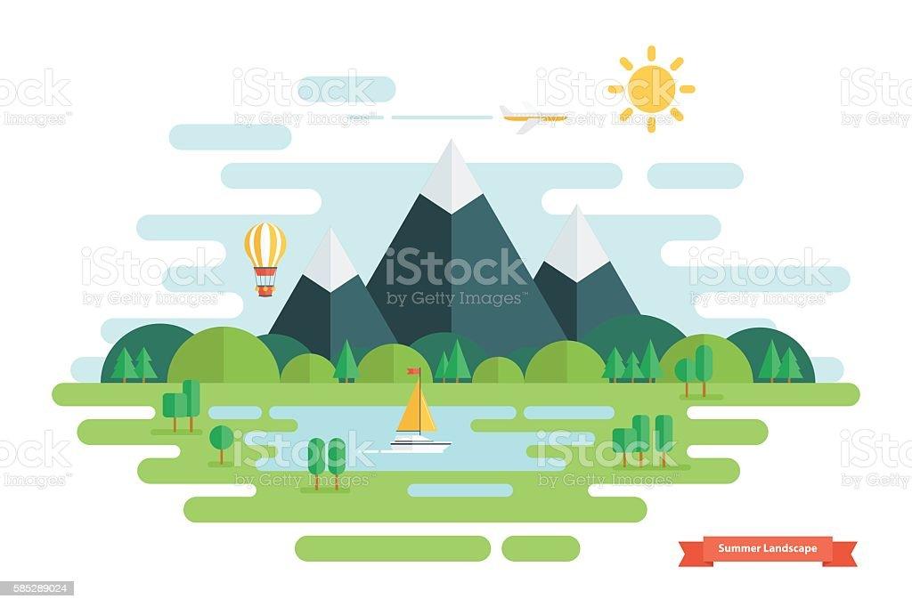 Summer landscape. Nature landscape with sun, mountains, clouds, hot...