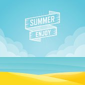 Summer landscape, Seascape background, Vector illustration.