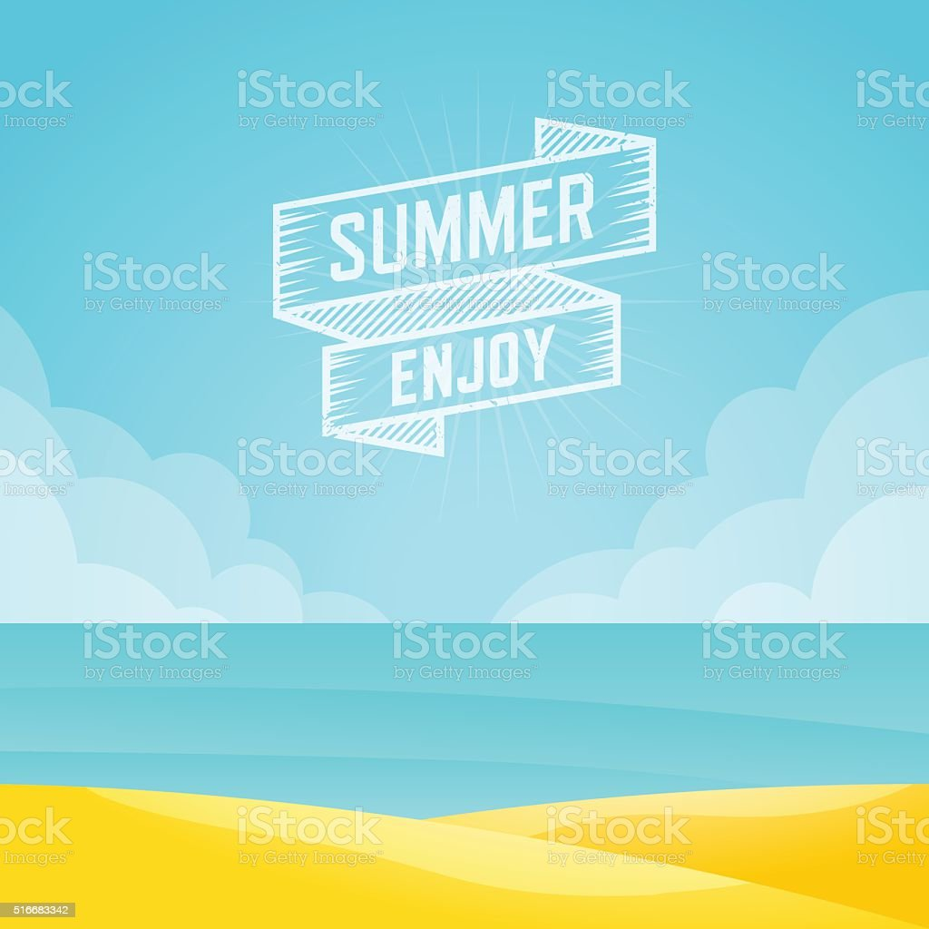 Summer landscape, Seascape background, Vector illustration. vector art illustration
