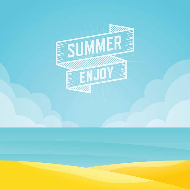 Summer landscape, Seascape background, Vector illustration. vector art illustration