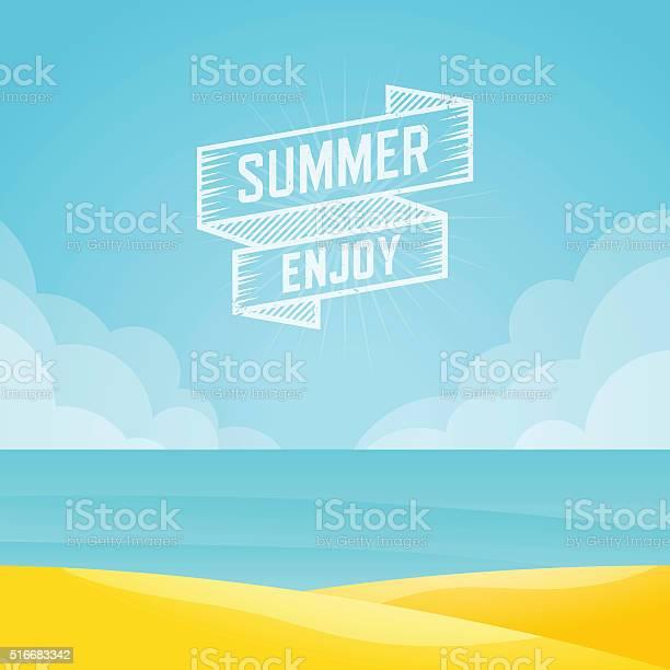 Lato Krajobraz I Seascape Tle Ilustracja Wektorowa - Stockowe grafiki wektorowe i więcej obrazów Abstrakcja