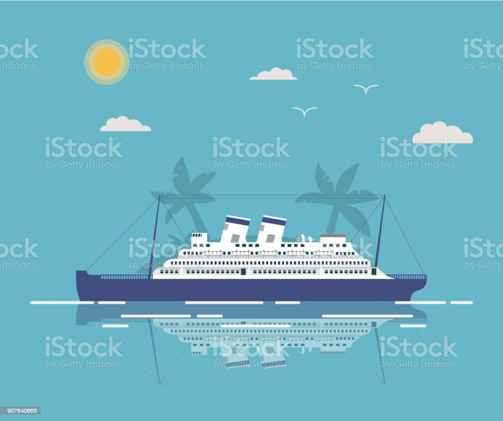 Summer landscape tropical with the cruise liner in flat style a vector.Sea voyage on the ocean cruise liner.Time to Travel.