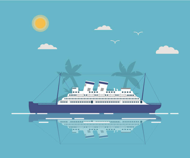 Summer landscape tropical with the cruise liner in flat style a vector.Sea voyage on the ocean cruise liner.Time to Travel. Passenger Ship.The island with palm trees. cruise vacation stock illustrations