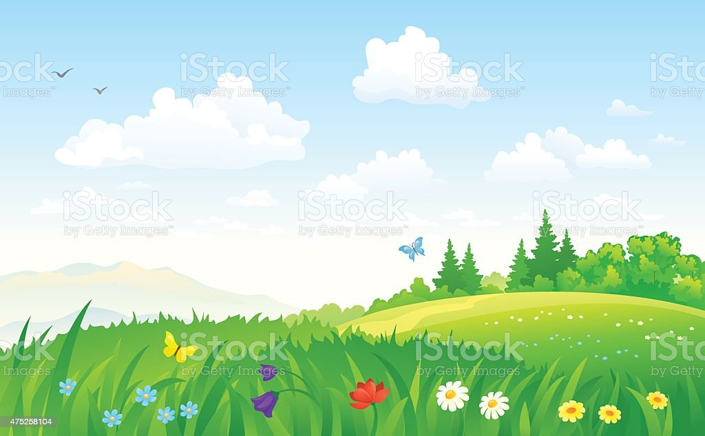Summer landscape vector art illustration