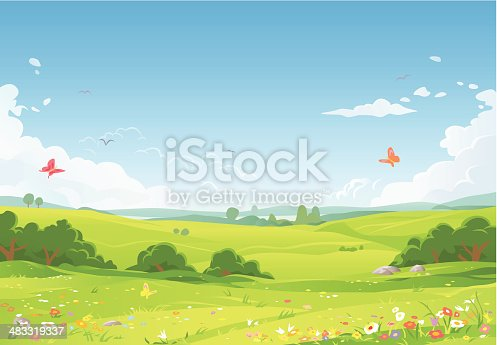 A summer or spring landsapce with green meadows, flowers, hilly fields and a blue sky with clouds in the background. EPS 8, fully editable and all labeled in layers.