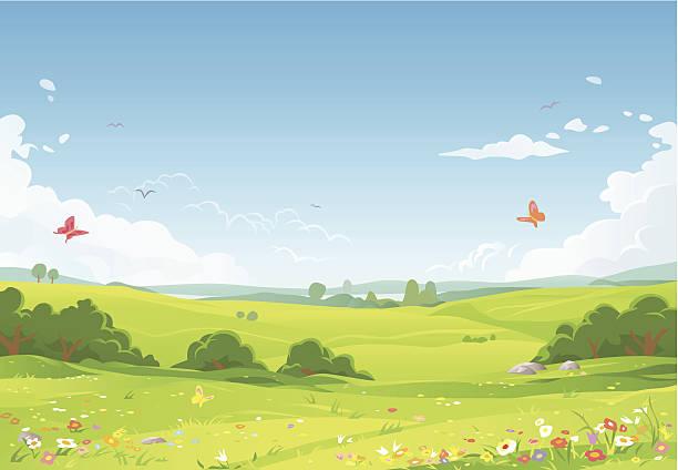 illustrazioni stock, clip art, cartoni animati e icone di tendenza di paesaggio estivo - landscape