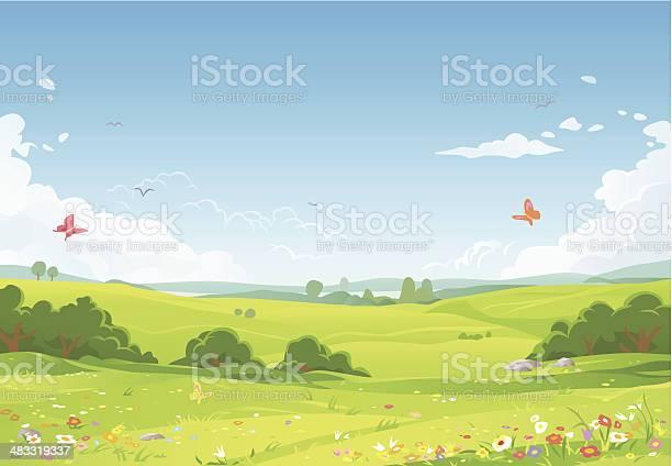 Summer Landscape Stock Illustration - Download Image Now