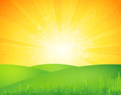 Vector illustration summer landscape background. EPS10. Contains transparensy.