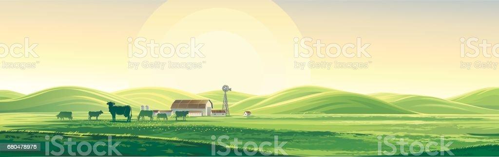 Summer landscape. vector art illustration
