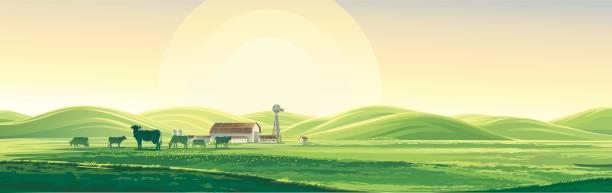 summer landscape. - farm stock illustrations