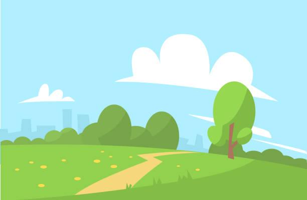 ilustrações, clipart, desenhos animados e ícones de verão paisagem vector ilustração cartoon estilo - exterior