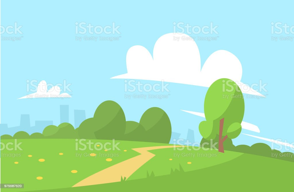 Été paysage vector illustration cartoon style - Illustration vectorielle