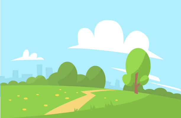 stockillustraties, clipart, cartoons en iconen met zomer landschapsstijl vector illustratie cartoon - openbaar park