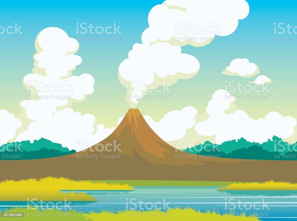 Summer landscape - volcano, lake, grass, clouds. vector art illustration