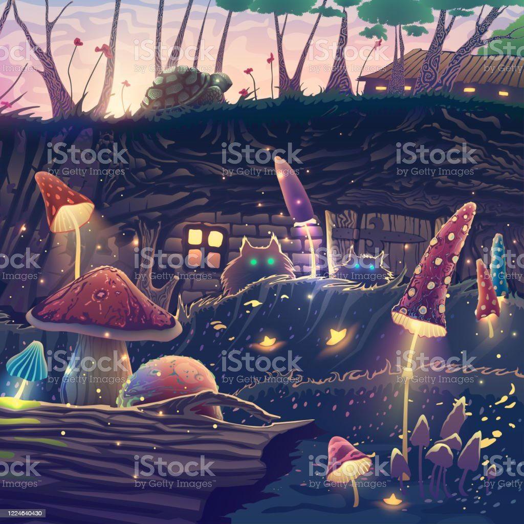 Summer landscape with beautiful magic forest, mushrooms, cats, turtle, fantasy trees, wild animals, flowers, beautiful nature with sunset light, wonderful vector illustration. Summer landscape with beautiful magic forest, mushrooms, cats, turtle, fantasy trees, wild animals, flowers, beautiful nature with sunset light, wonderful vector illustration. Animal stock vector