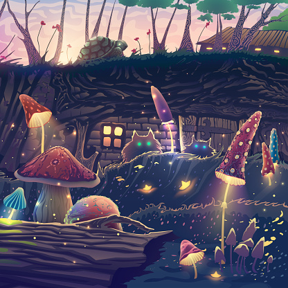 Summer Landscape With Beautiful Magic Forest Mushrooms Cats Turtle Fantasy Trees Wild Animals Flowers Beautiful Nature With Sunset Light Wonderful Vector Illustration Stock Illustration - Download Image Now