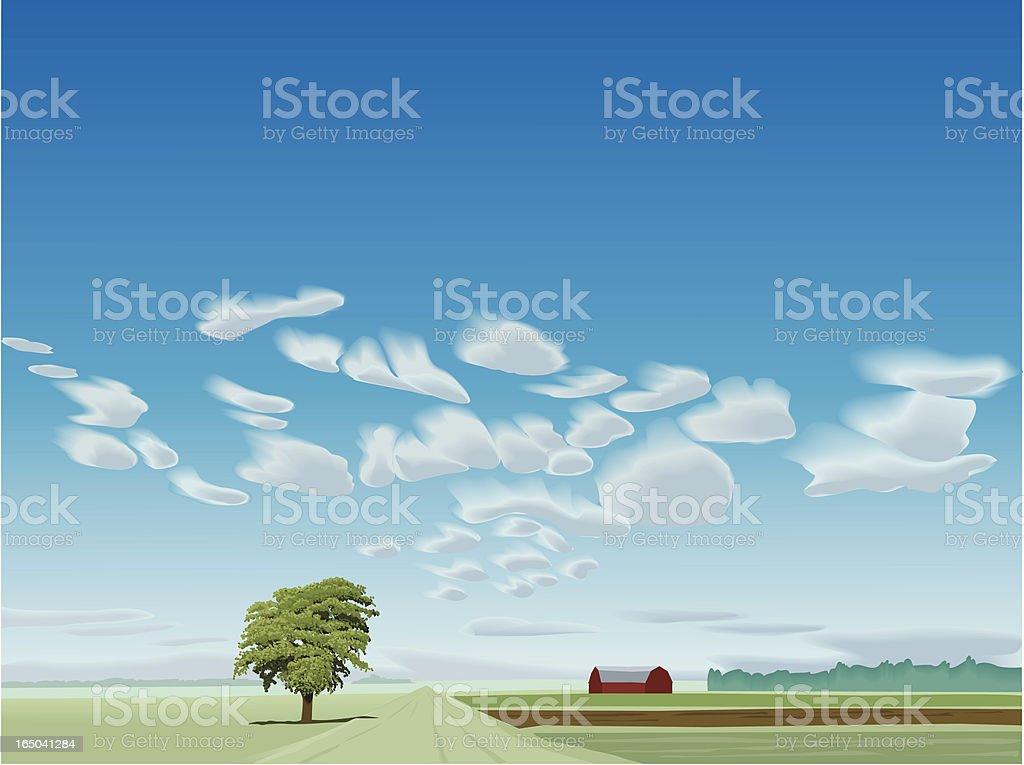 summer landscape with cloud layer vector art illustration