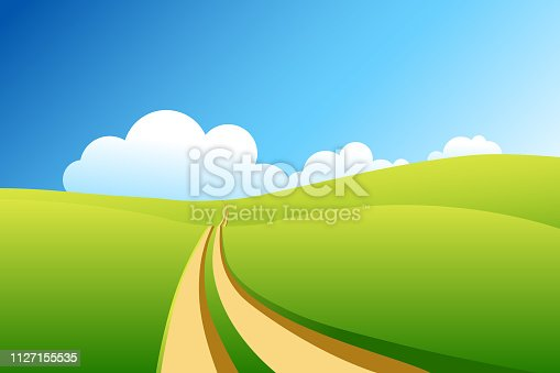 Dirt road going through green field. Summer landscape vector illustration