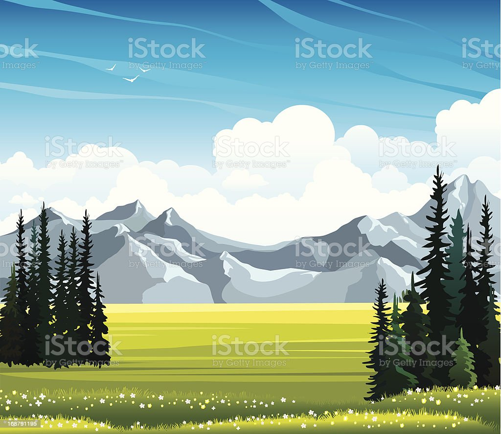 Summer landscape with fir, meadow and mountains. royalty-free summer landscape with fir meadow and mountains stock vector art & more images of bird
