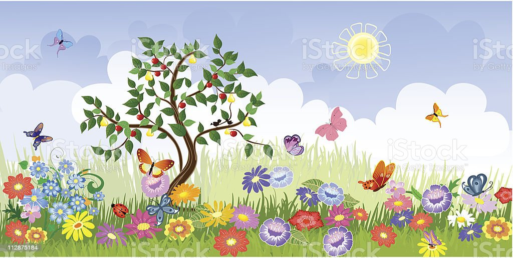 Summer landscape with fruit trees royalty-free summer landscape with fruit trees stock vector art & more images of beauty