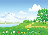 Vector cartoon illustration of a beautiful summer landscape with a lake