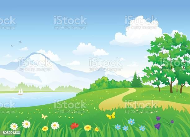 Summer landscape with lake vector id806504300?b=1&k=6&m=806504300&s=612x612&h=e c kxzj0a1hgghc92xwpikcpebhs8ryss5rpzvfsnq=