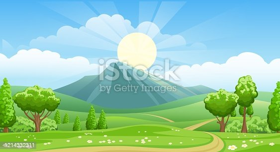 Summer landscape with road to mountains. Country cartoon background with sunrise on sky, green grass fields and mountain vector illustration