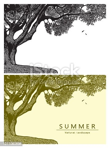 Vector graphic illustration of summer nature in black and white and beige color, vintage style.