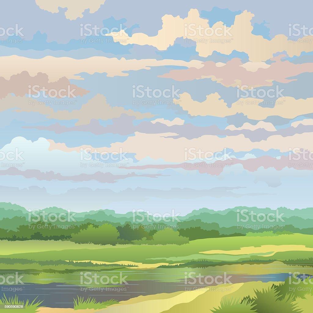 Summer landscape with river vector art illustration