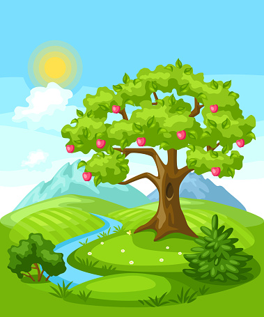 Summer landscape with trees, mountains and hills.