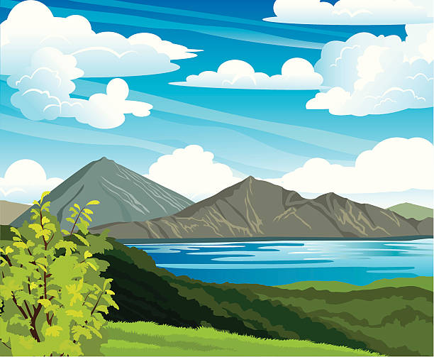 Summer landscape with volcano and lake Batur. Indonesia, Bali. vector art illustration