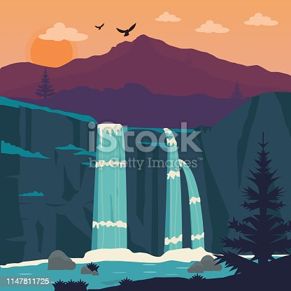 Waterfall, Landscape - Scenery, Mountain, Lake, Vector