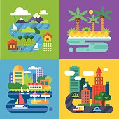 Summer landscapes. Vacation and travel. Alpine village, tropical island, big city, provincial town. Vector flat  illustrations