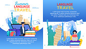 Summer Language Travel Banner Set. Cartoon Girl with Notebook Multilingual Learn. Man Teach English French Italian Spanish. Speak and Talk Abroad. Europe Country Education Travel Program