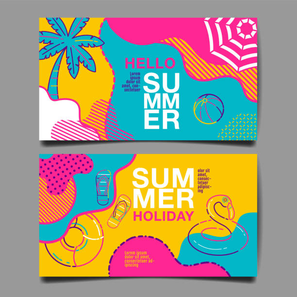 summer , layout design, greeting card, cover book, banner, stripe line, colorful, template design, vector illustration summer , layout design, greeting card, cover book, banner, stripe line, colorful, template design, vector illustration summer stock illustrations