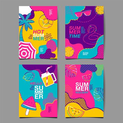 summer , layout design, greeting card, cover book, banner, stripe line, colorful, template design, vector illustration