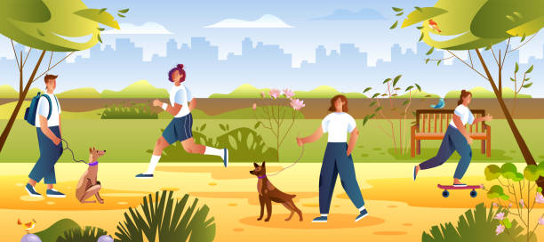 ilustrações de stock, clip art, desenhos animados e ícones de summer leisure concept with female and male characters waling their dogs. - young woman running city