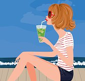 Pretty girl having a fresh summer dring by the seaside. Very chic. I also have the winter version if you want to check.